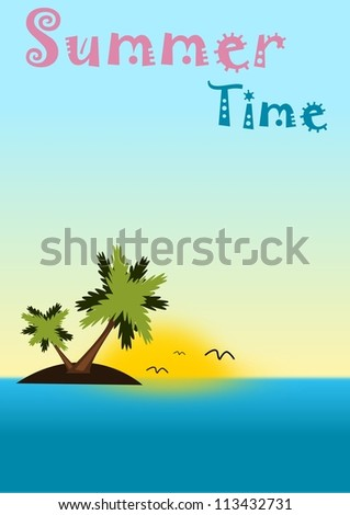 Sea, island with palms and sunset in summer