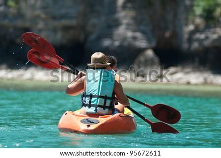 sea kayak in thai ocean ko samui surat thani.