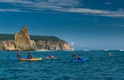 Sea kayaking in Kamchatka. PacificOcean, Russia