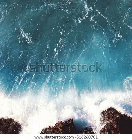 Sea landscape background, water with waves and rock, empty copy space #516260701