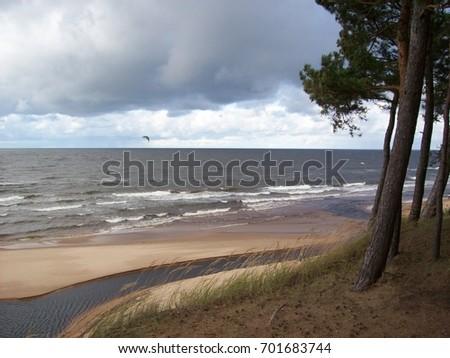 Sea landscape. Cloudy weather. Latvia.