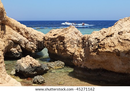 Sea landscape of the Sharks bay of the Red sea, Egypt