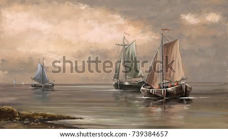 Sea landscape paintings, fisherman, boats, ships, art, digital oil paint.
