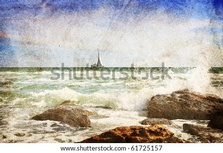 sea landscape. photo in vintage ...