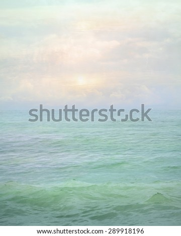 Sea landscape. Seascape sunrise with dreamy clouds. Pastel mint background. Abstract water art