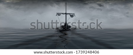 Sea landscape with a Viking ship in the fog. 3D illustration. stock photo