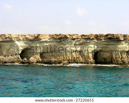 Sea landscape with rock, Cyprus.