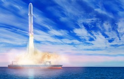 Sea launch liftoff of the space rocket from ship