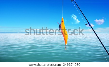 sea level with fish hook and rod  #349374080