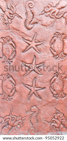 Sea life pattern stone craft for decoration texture surface
