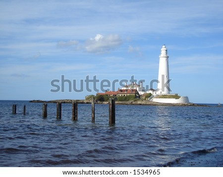 Sea Lighthouse on St. Mary's Island Tyne & Wear  England