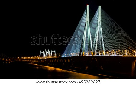 Sea Link in Mumbai, India at night (image cropped to give panoramic effect)
