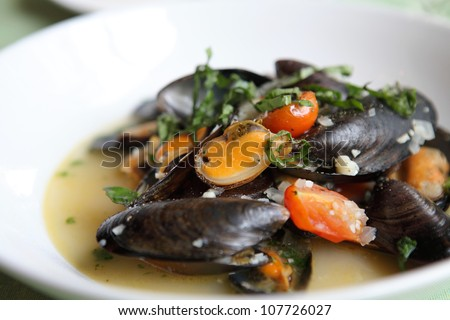 sea mussel with white wine - stock photo