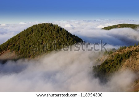 Sea of clouds in the Teide National Park. Tenerife