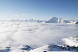 Sea of clouds on the slopes of mount Elbrus