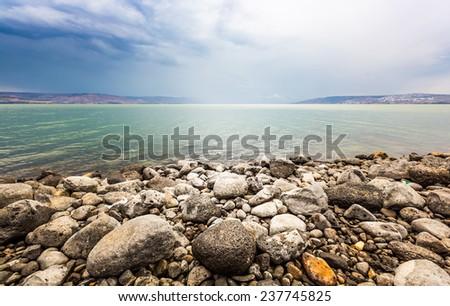 Sea of Galilee landscape in summer day
