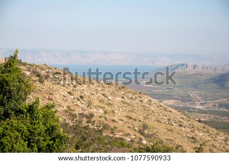 Sea of Galilee with Arbel cliff