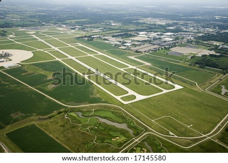 Sea of green land via airplane