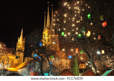 Sea of ??Light Cathedral of Erfurt at Christmas time