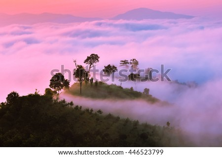 Shutterstock Sea of mist and sunrise at yun lai view point ,pai , mae hong son, Thailand