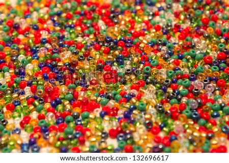 sea of red, green and blue colored beads