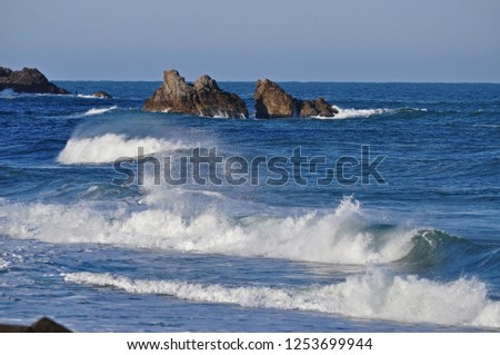 Sea of the Sea of Japan Sea Wave high and early Shi flow  #1253699944