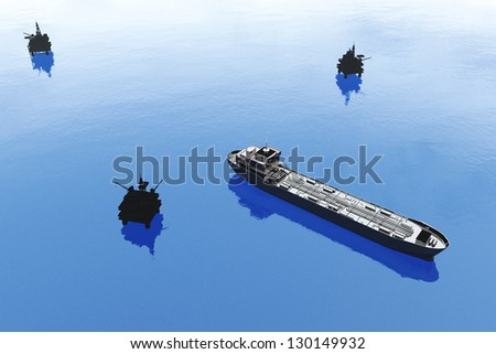Sea Oil Platforms and Tanker