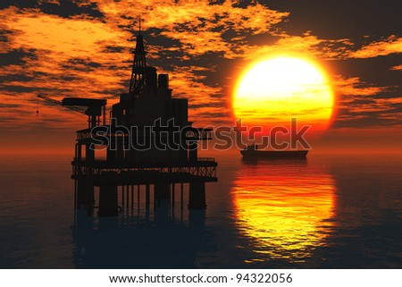 Sea Oil Platforms and Tanker in the Sunset 3D render