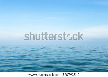 Sea on blue sky background