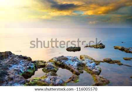 sea on sunset. Nature composition.
