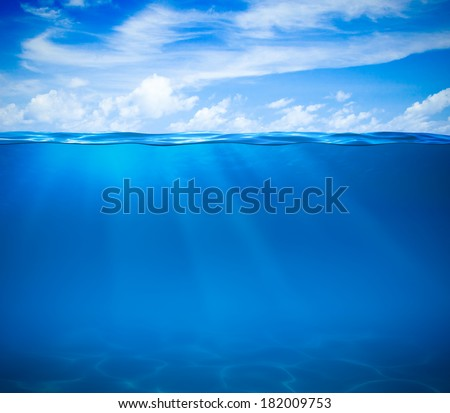 Stock Photo Sea or ocean water surface and underwater