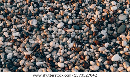 Sea pebbles. Background of pebbles. Wet stones. Multicolored pebbles.