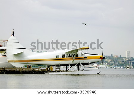 Sea plane taking off on Union Bay Lake, Seattle, USA