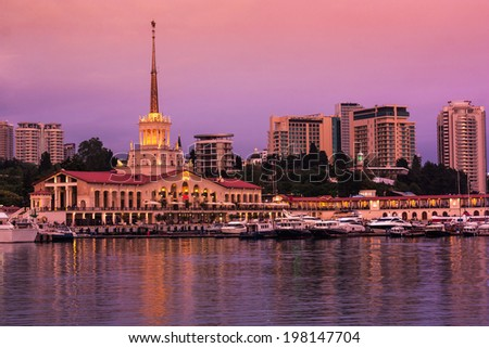 Sea port of Sochi in the warm summer night , view from the sea .