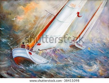 Sea regatta at a gale - stock photo