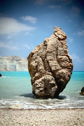 Sea rock like a sumo wrestler. Petra Tou Romiou (near Paphos), birthplace of Aphrodite. Cyprus.