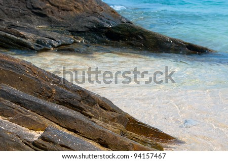 Sea rocky beach in sunny day,Samed island in Rayong province,East of Thailand