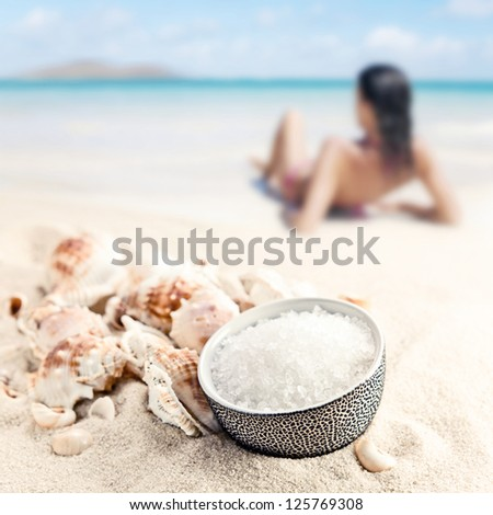 Sea salt and cockleshells on sea sand
