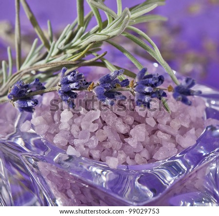 Sea-salt and dried lavender on a violet background