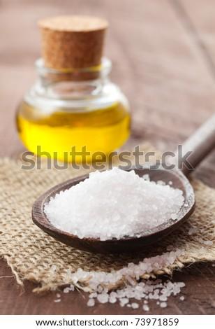 sea salt and oil on a table