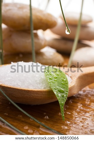 Sea salt in a wooden spoon with a green leaf, spa stones, drops of water.