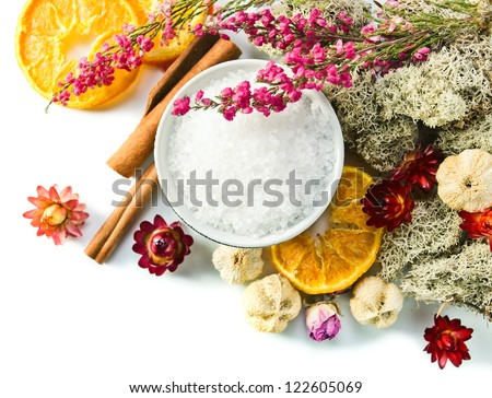 Sea salt with dried fruits, plants and flowers