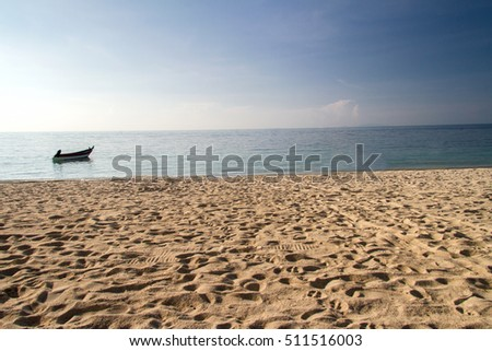 Sea sand sky in summer day tropical beach sunset background #511516003