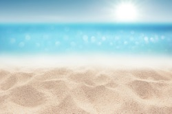 Sea Sandy beach and Sunny in good weather day focus area at sand floor Summer background concept