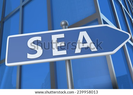 SEA - Search Engine Advertising - illustration with street sign in front of office building.