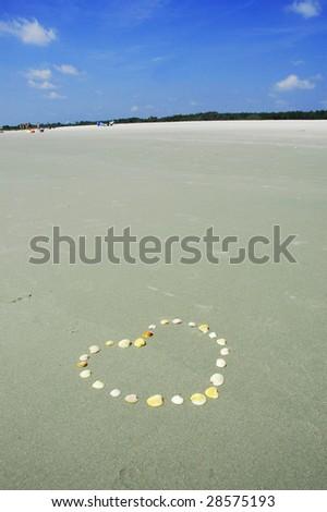 Sea Shell Heart on Beach