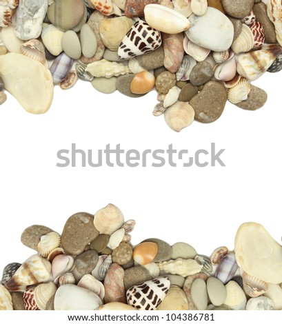 sea shells stones frame.