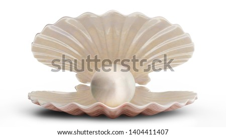 Sea shells with pearl inside. Gem, women's jewelry, nacre bead. For your banner, poster, logo. Sea shell, shiny sea pearl isolated on white background, 3d illustration