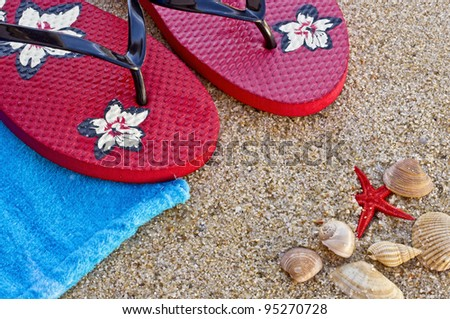 Sea shells with sandals and a towel with great colors