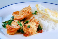 sea shrimp fried with basil and red chily thailand street food style
